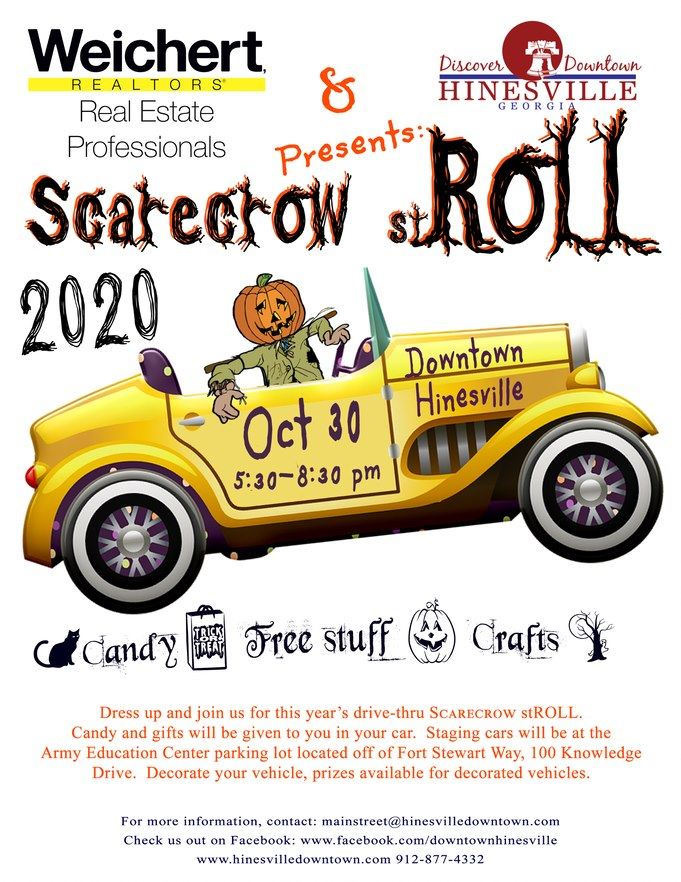 Flyer for the HDDA's Scarecrow stROLL on Friday, October 30 from 5:30 - 8:30 p.m. in downtown.