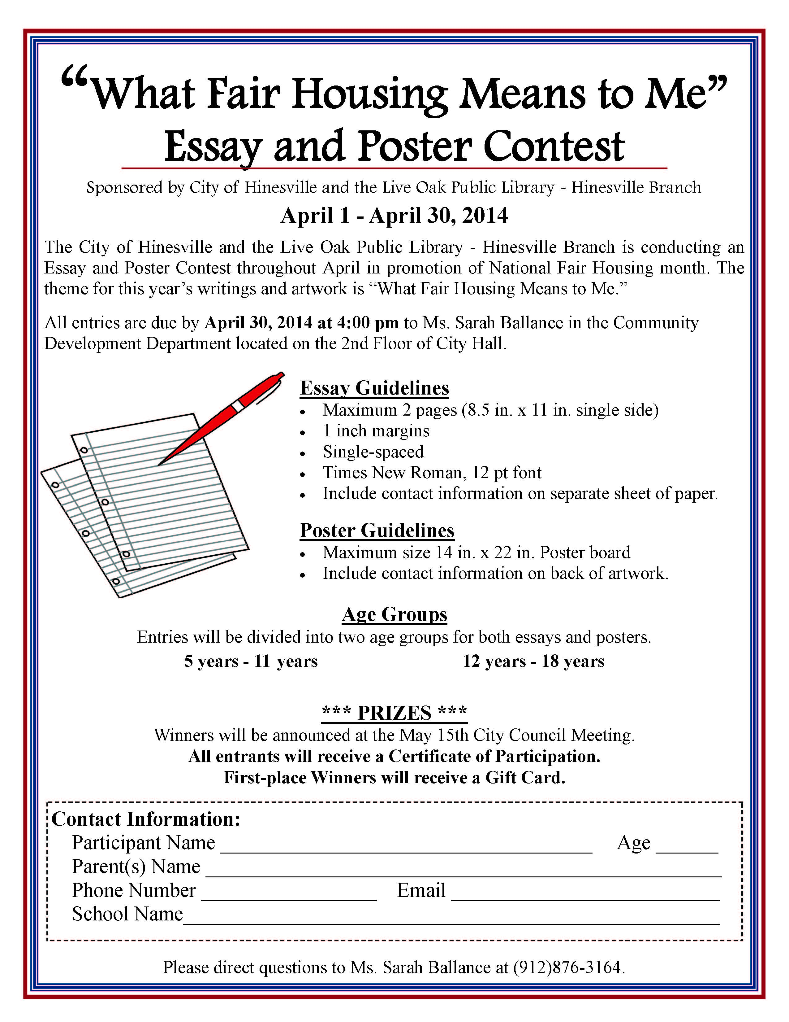 Two Kinds By Amy Tan Essay What Fair Housing Means To Me Essay And Poster Contest Good Photo Essay Topics also Samples Of Definition Essays Hinesville Ga Example Of A Research Essay
