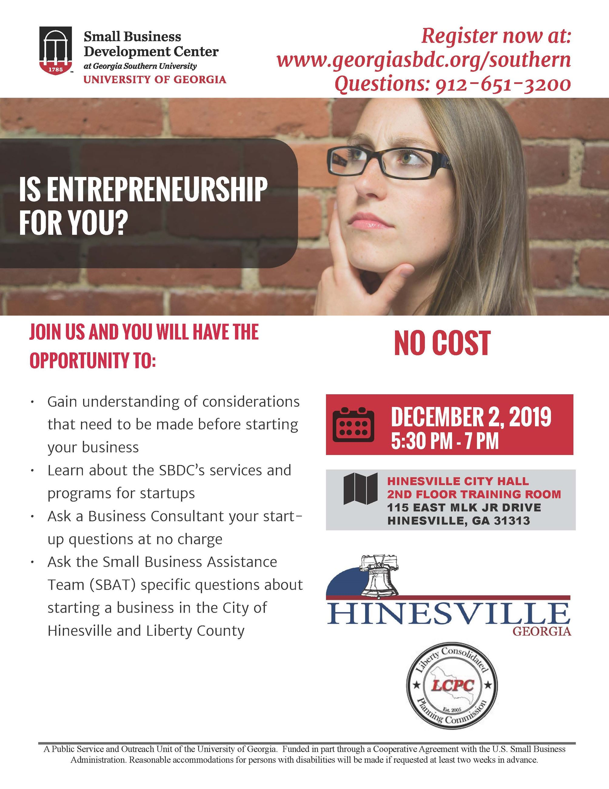 Educational event for entrepreneurs by the Small Business Development Center at Hinesville City Hall